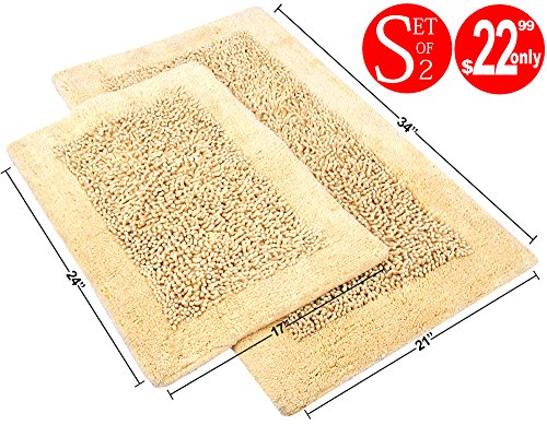 Value Homezz ( 2 Piece Bathmat Set ) Chenille 100% Super Soft Cotton Tufted Accent Bath Rugs Size 21 x 34 / 17 x 24 Non Skid High Absorbency & (Chenille Accent Rug)