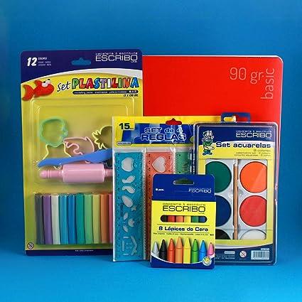 Pack Infantil con Plastelinas, Acuarelas, Lapices de Cera, Reglas y Cuaderno para Pintar, Dibujar y Escribir.: Amazon.es: Oficina y papelería