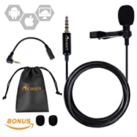 Microphone Cravate Professionnel Omnidirectionnel à Condensateur Avec Clip Cravate Lavalier 3.5mm Audio Jack 1.5M, Universel pour Smartphones et PC, IOS / Andriod / Windows / Mac ( Sac de Rangement en Cuir + 3 Anti-Spray Éponge de Micro)