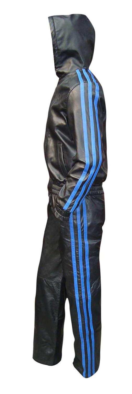 Bespoke TailoROT Leder Herren Trainingsanzug schwarz schwarz
