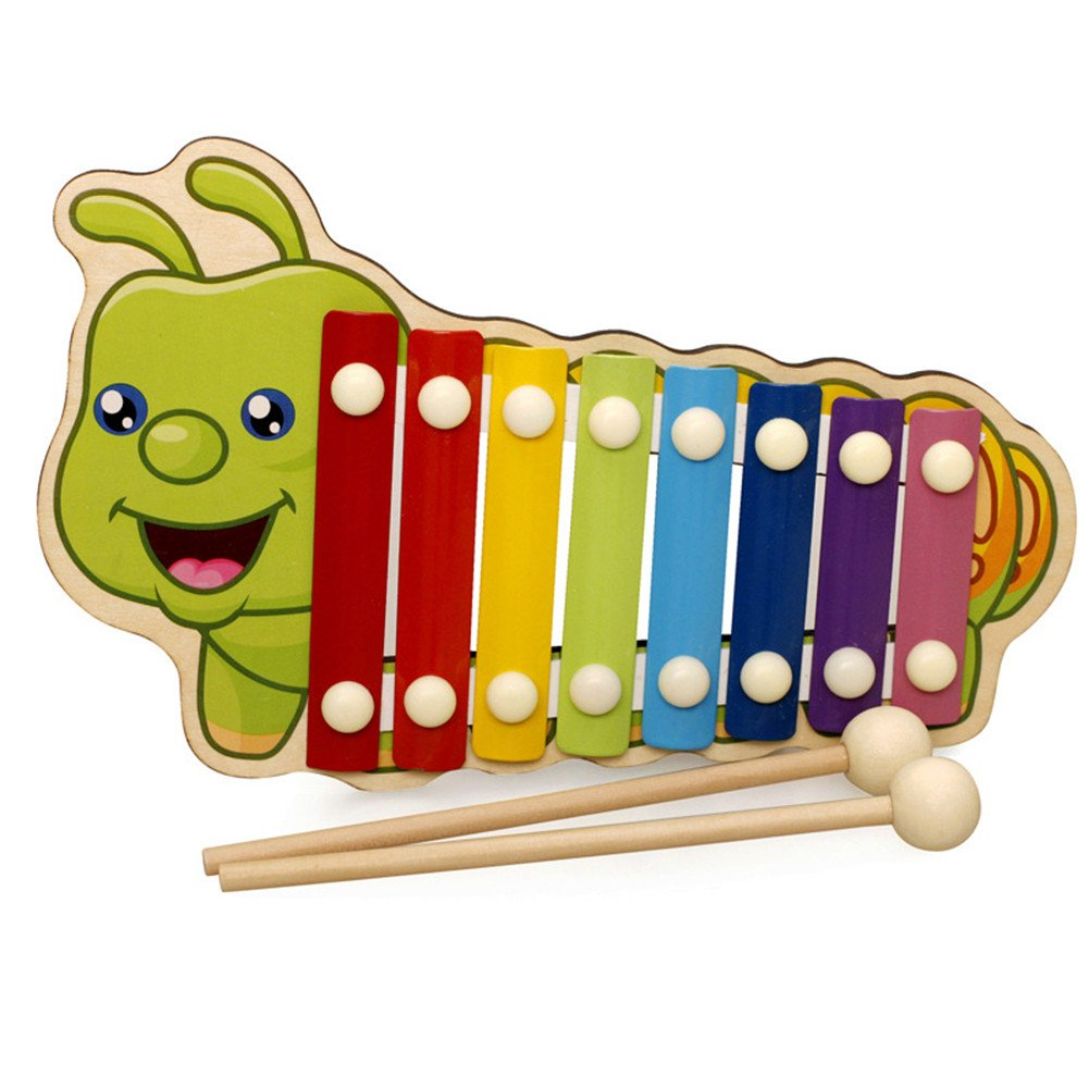 potato001 Wooden Hand Knock Musical動物Xylophone 8キーInstrument Percussionキッズおもちゃ one size TLQ00Q0715ZX one size Caterpillar B0783H7CX3