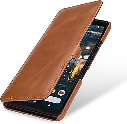 StilGut Book Type Case, custodia per Google Pixel 2 XL a libro booklet custodia orizzontale, cover apertura laterale in vera pelle, Cognac con Clip