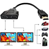 HDMI Splitter Adapter Cable - HDMI Splitter 1 in 2 Out/HDMI Male to Dual HDMI Female 1 to 2 Way for HDMI HD, LED, LCD, TV, Su