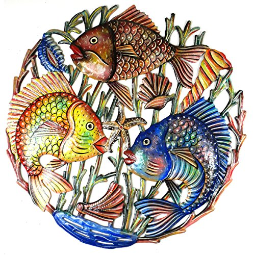 Painted Metal Wall Art featuring a Trio of Fish 23 inch - Handcrafted in Haiti from Recycled Steel Drums