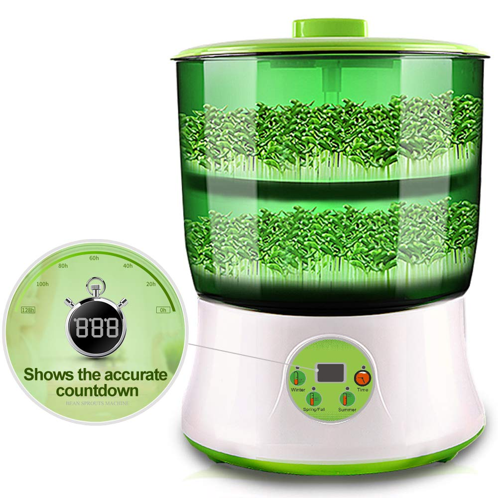 Bean Sprout Machine LED Display BPA Free PP Time Control Atomatic Watering System 2-Tier Big Capacity 110V Sprouting Kit by DTnature