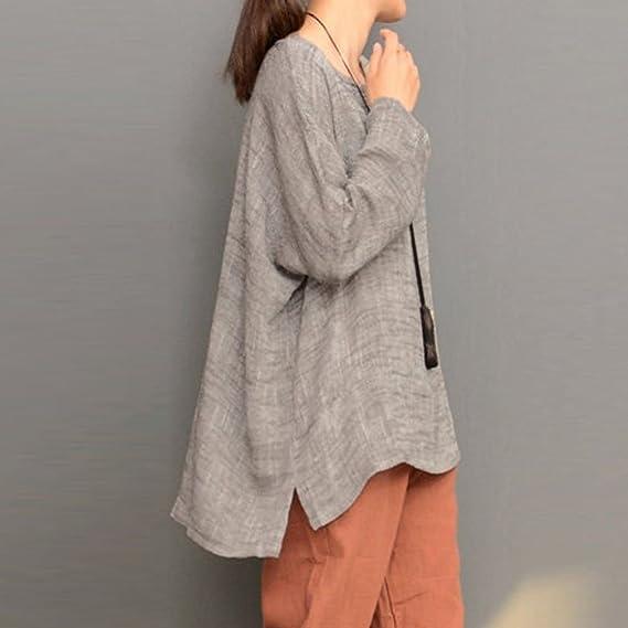 ... Elegante Algodón Lino T-Shirt Loose Jersey Casual Llanura Cuello Redondo Irregural Dobladillo Pull-Over Blusas M - 5XL: Amazon.es: Ropa y accesorios
