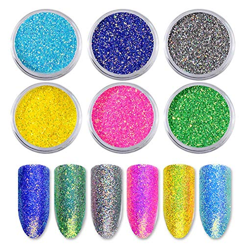 - Nail powder, nail decorations 6pcs / set Fluorescent powder with photoluminescent light for the reconstruction of artistic nails