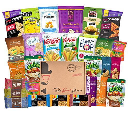 NON-GMO Healthy Snacks Care Package (28 Ct): Bars, Cookies, Chips, Crispy Fruit, Trail Mix, Gift Box, Office Assortment, Variety Pack, College Student Military Care Package, Gift Basket Alternative
