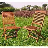 International Caravan Valdona Folding Chair in Premium Stain(Set of 2)