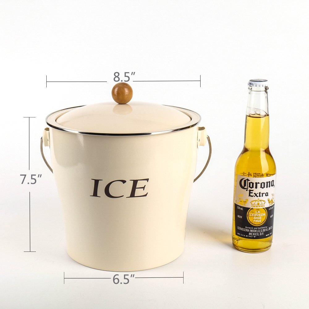 Home by Jackie Inc T686 Cream White 4L Metal Double Walled Ice Bucke Set/Home Kitchen Gifts With Lid/wooden Handle And Scoop by Home by Jackie Inc (Image #2)