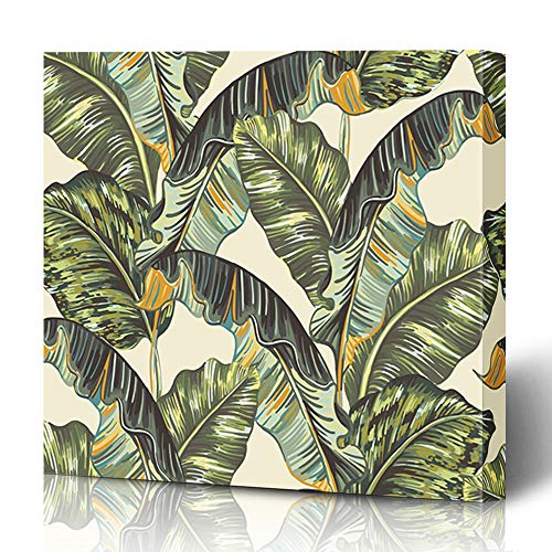 Ahawoso Canvas Prints Wall Art 16x16 Inches Natural Green Pattern Tropical Palm Leaves Jungle Leaf Nature Beige Banana Vintage Botanical Safari Wooden Frame Printing Home Living Room Office ()