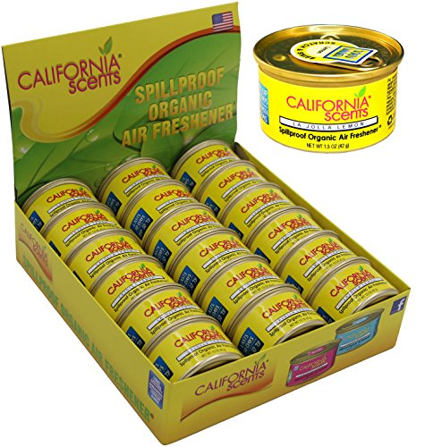 California Scents Spillproof Organic Air Freshener , La Jolla Lemon , 1.5 Ounce Canister (Pack of 18) 18k Lemon