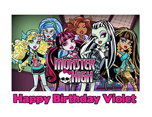 (Monster High Edible Image Photo Cake Frosting Icing Topper Sheet Personalized Custom Customized Birthday Party - 1/4 Sheet -)