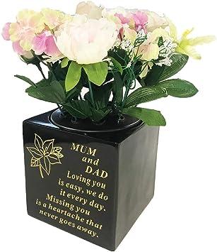 Mum Dad Grave Rose Bowl Flower Holder Vase Pot Parents Graveside Memorial Plaque Amazon Co Uk Office Products