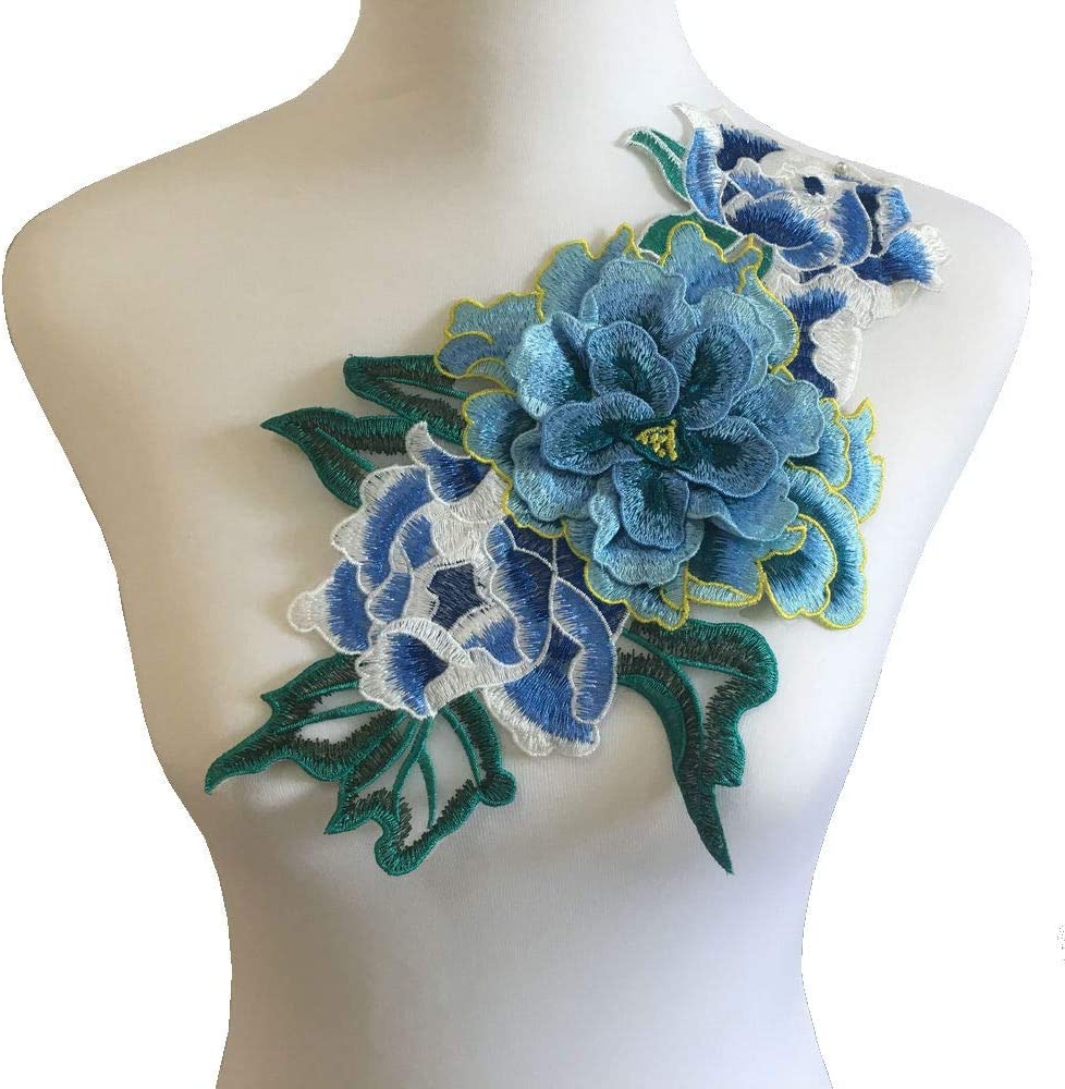 Flowers Embroidered Patch Sticker for Clothing Jacket Jeans Lace Applique DIY Clothes Decorations Fabric Patches Color D Blue
