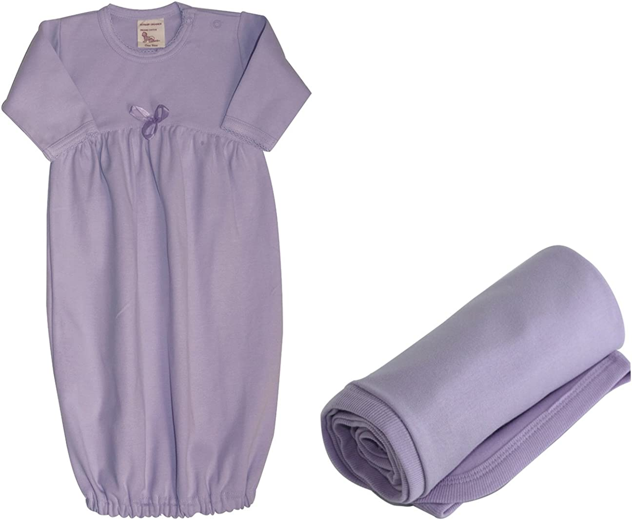 Ecobaby Organics Baby Gown and Free Blanket Organic Cotton Lavender