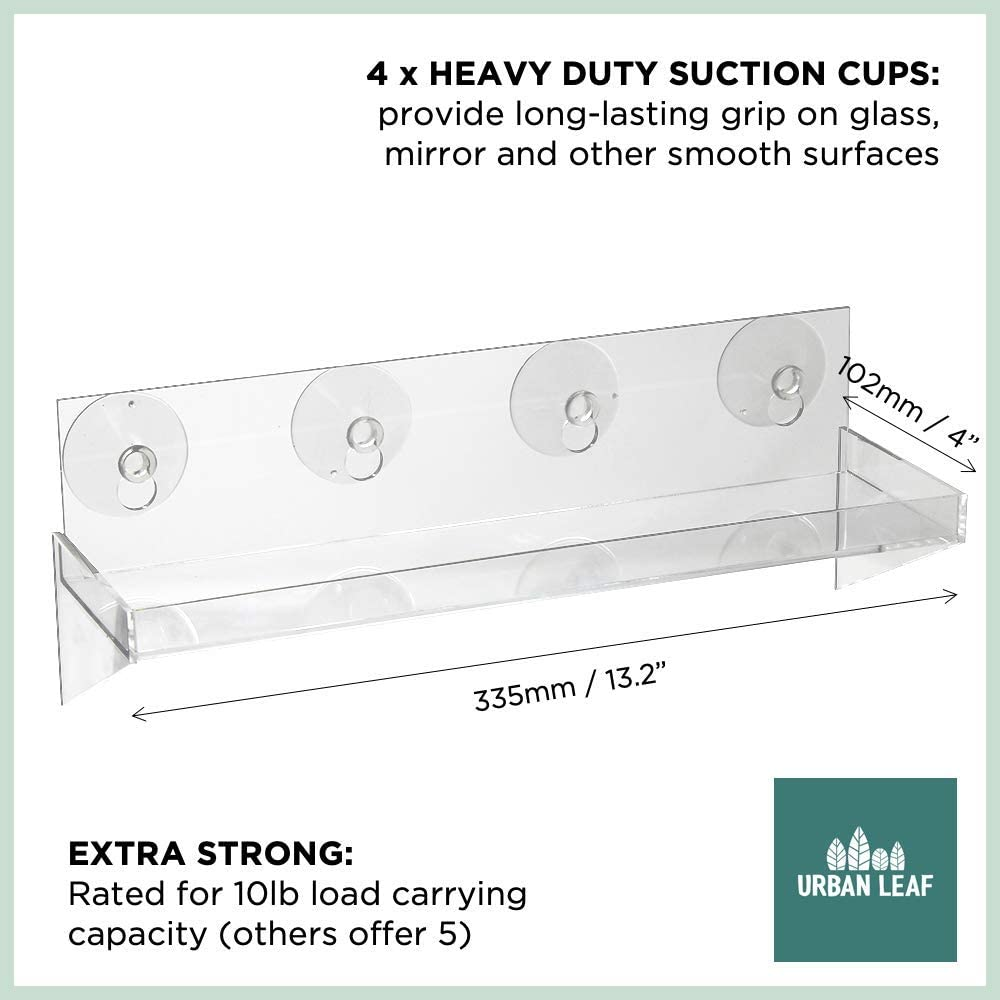 Urban Leaf – Suction Cup Shelf for Plants Window Bathroom or Kitchen Live Plant Shelves for Indoor Garden Window Sill, Shower, Decorations or Ledge Extender Large 13.2 x 4