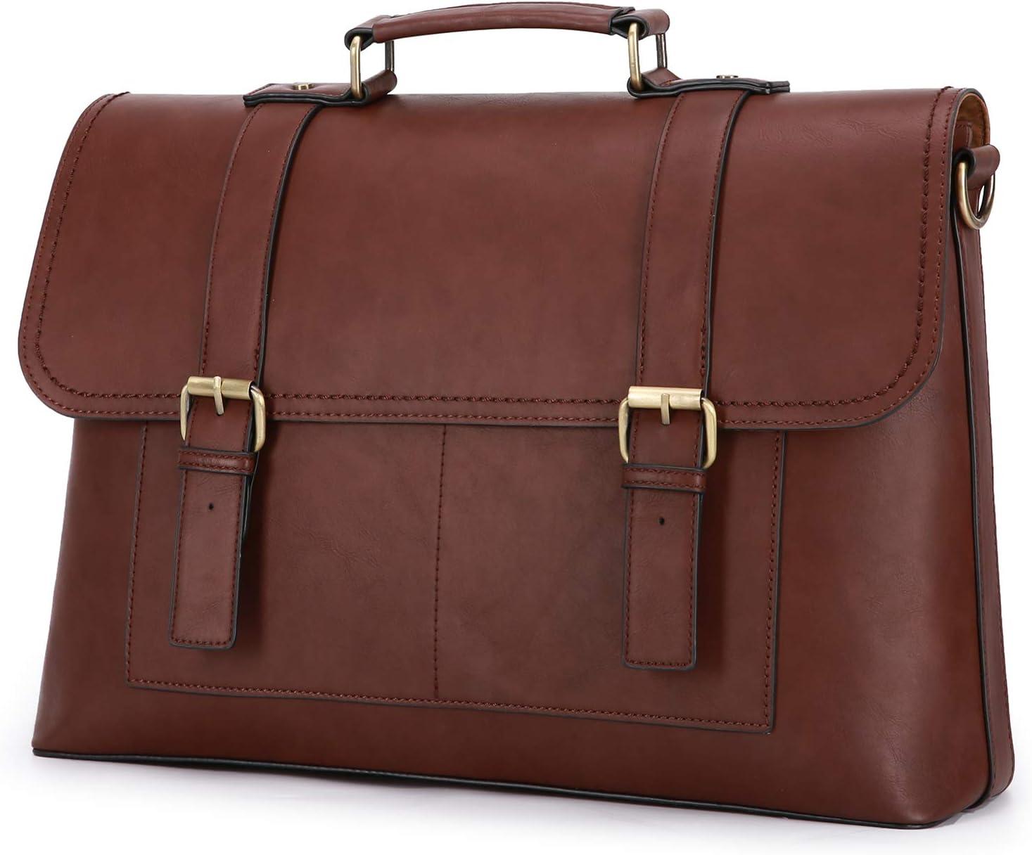 ECOSUSI Briefcases for Men Messenger Bag 15.6 Inch Laptop Bag Slim Briefcase Water Resistance Vintage Satchel Bag