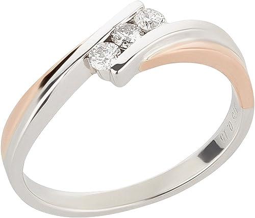 Damenring 375 Gold Weißgold 0,1ct Diamanten Brillant-Ring Verlobungsring Solitär