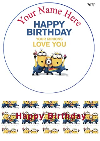 Individuelle Dispicable Me Minions 7 5 Zoll Runder Edible Kuchen