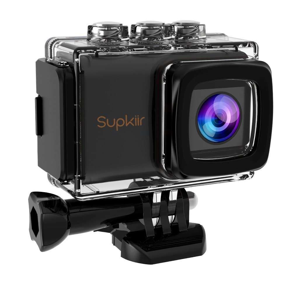 Supkiir Action Camera 4K 16MP Ultra HD WiFi Waterproof Sports Camera with EIS,170 Degree Wide Angle with 2 Rechargeable 1200mAh Batteries Remote and Carrying Case
