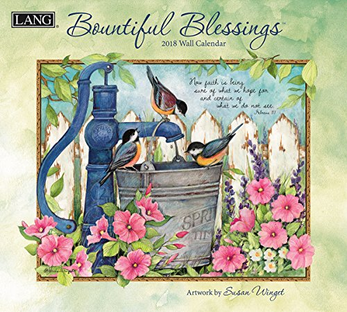 "LANG - 2018 Wall Calendar - ""Bountiful Blessings"", Artwork By Susan Winget - 12 Month - Open 13 3/8"" X 24"""