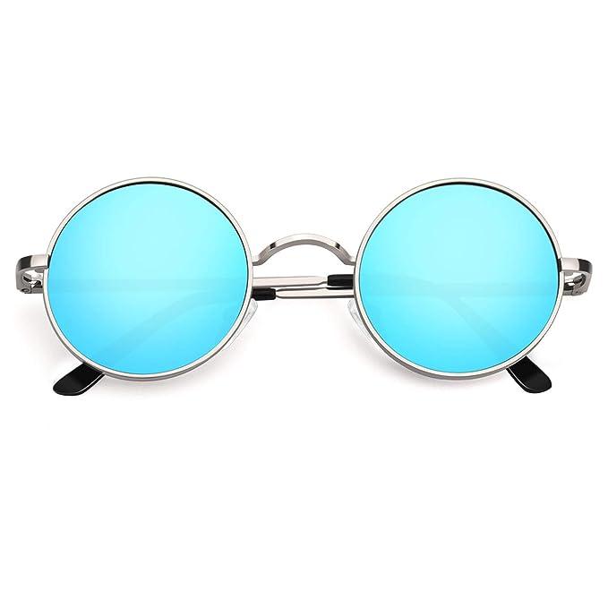 2 PC John Lennon Style Vintage Classic Circle Round Sunglasses Men Women BLUE t