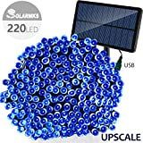 Christmas Lights Solarmks 8 Mode Solar String Lights with USB Charging 77ft 220 LED Fairy Decorative for Outdoor (Blue)