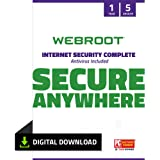 Webroot Internet Security Complete Virus Protection Software 2021 for 5 Devices + Identity Protection, Secure Web Browsing, P