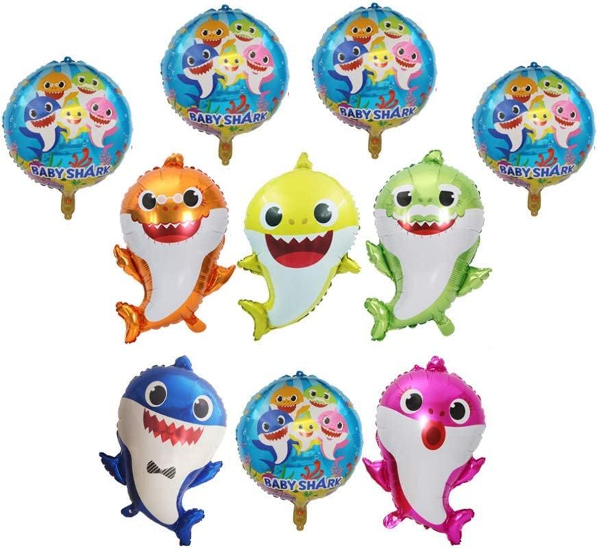 10 Pack Baby Shark Party Helium Balloons- 26 inch Baby Shark Family Foil Baloons, 5 Pieces 18 inch Round Balloons Shark Decorations Baloons for Shark Theme Party Supplies