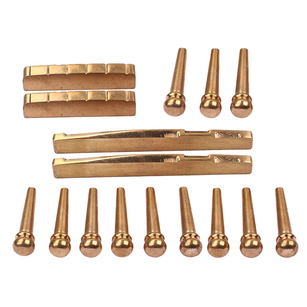 Jili Online 12PCS Guitar Brass Bridge Pins Saddle Nut Replacement Parts for Acoustic Guitar