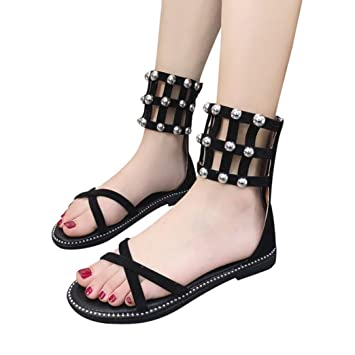 Para Vintage Mujer Rivets Tacones Open Calzado Chancletas Sandalias q7wxaqSA