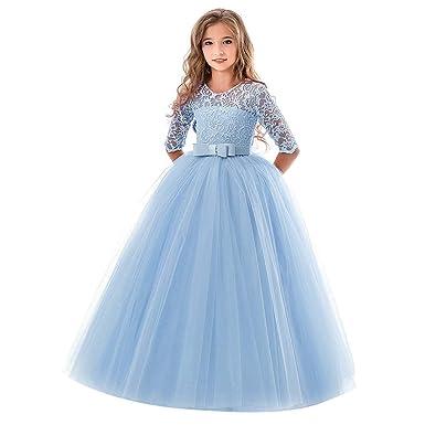 Longra Vestito in Pizzo da Bambino Ragazza Elegante Costume da Principessa  Partito Compleanno Bambini Vestito Carnevale Cosplay Abito da Cerimonia  Bambina  ... a7ae2de6587