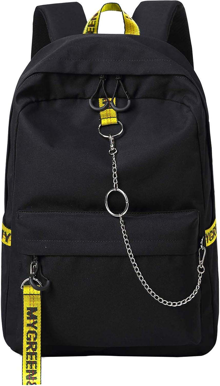 El-fmly School Daypack Laptop Cute Backpack for Teen Girl Teen Stuff Outdoor Backpack School Bags Water-Resistant Travel Camping Daypack Black Yellow