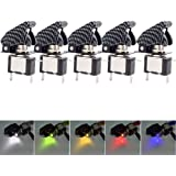Mintice™ 5 X 12V 20A Blue/Red/Green/Yellow/White Carbon Fiber Cover LED Light Rocker Toggle Switch SPST ON/OFF Car Vehicle