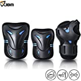JBM Multi Sport Protective Gear Knee Pads and Elbow Pads with Wrist Guards for Cycling, Skateboard, Scooter, Bmx, Bike and Other Extreme Sports Activities