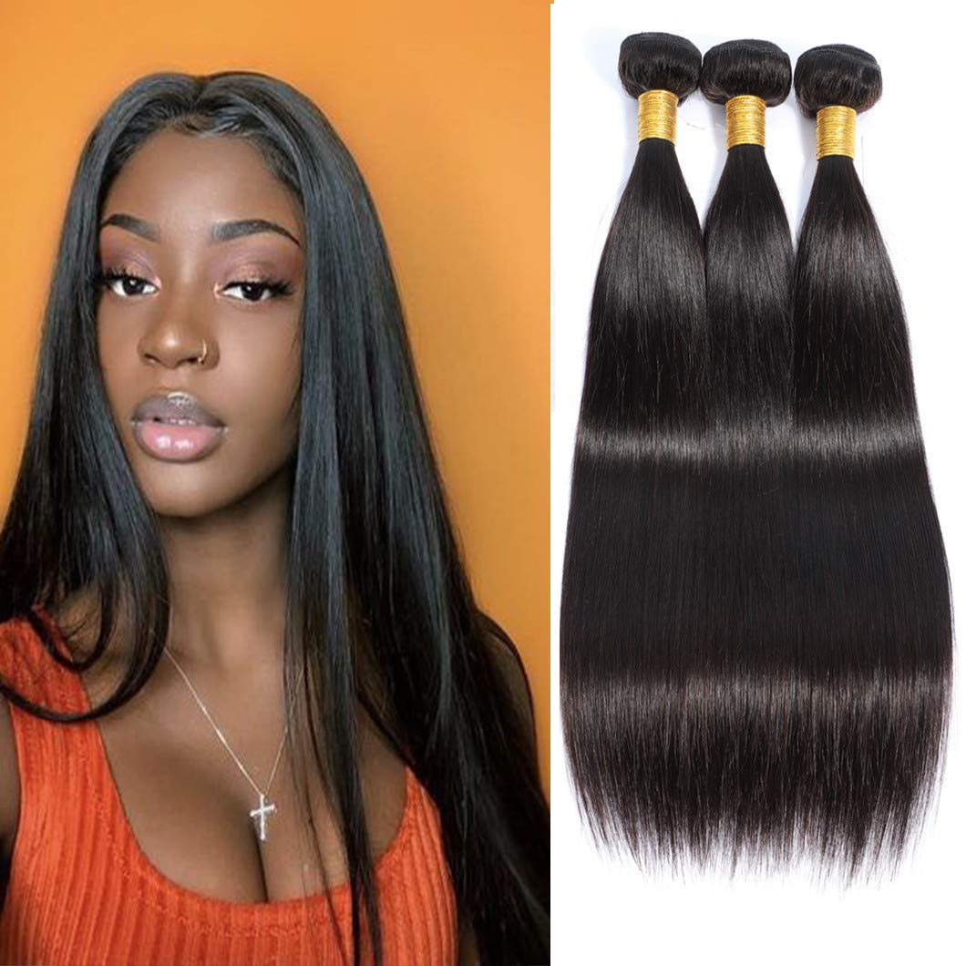 Brazilian Straight Hair 3 Bundles Virgin Hair 100% Unprocessed Weave Human Hair Natural Color Can Be Dyed And Bleached(18 20 22Natural Color)