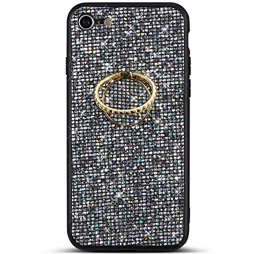 PHEZEN Case for iPhone 7,iPhone 8 Case Glitter Bling Shiny Diamond Rhinestone TPU Silicone Case Rubber Skin with Kickstand Ring Stand Shockproof Bumper Girls Women Case for iPhone 7/8, Grey