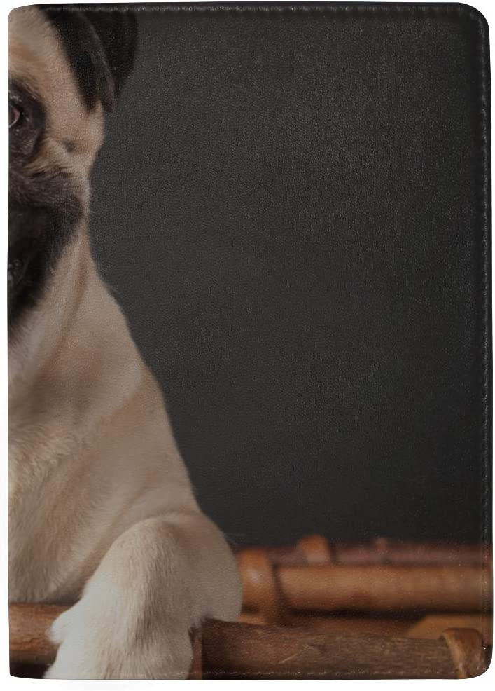 Cute Pug Dog Breed Smile With Funny Face Blocking Print Passport Holder Cover Case Travel Luggage Passport Wallet Card Holder Made With Leather For Men Women Kids Family