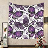 Gzhihine Custom tapestry Natural Tapestry Ethnic India Asian Butterflies with Paisley Motif on Wings Flowers Art for Bedroom Living Room Dorm 60 W X 40 L Plum Purple Lilac White