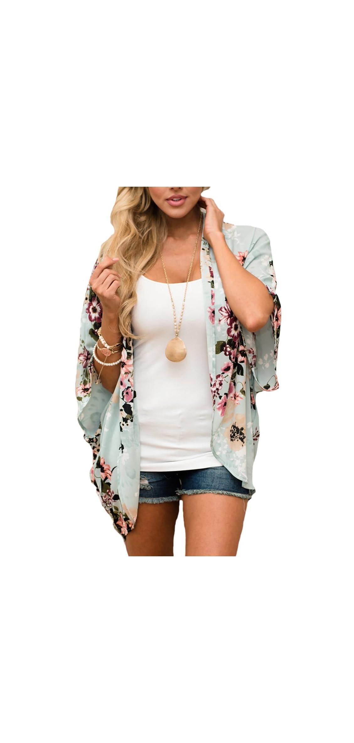 Women's Floral Print Kimonos Loose Half Sleeve Shawl