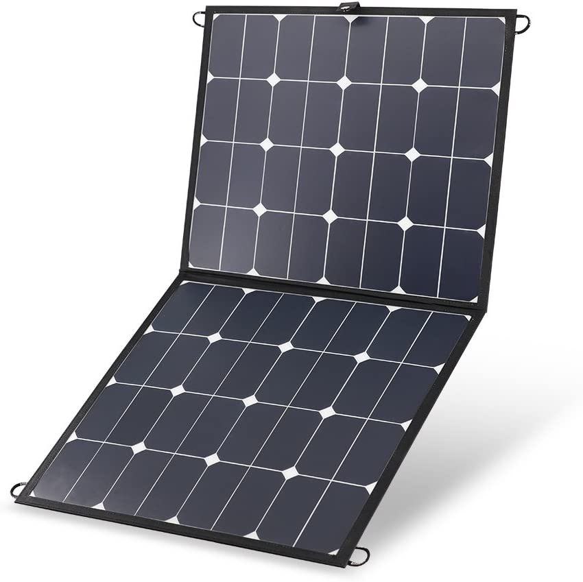 Renogy 100W 12V Portable Eclipse Solar Panel Lightweight Foldable Suitcase with 10A LCD Charge Controller for Jackery SUAOKI Rockpals Goal Zero Webetop Power Generator