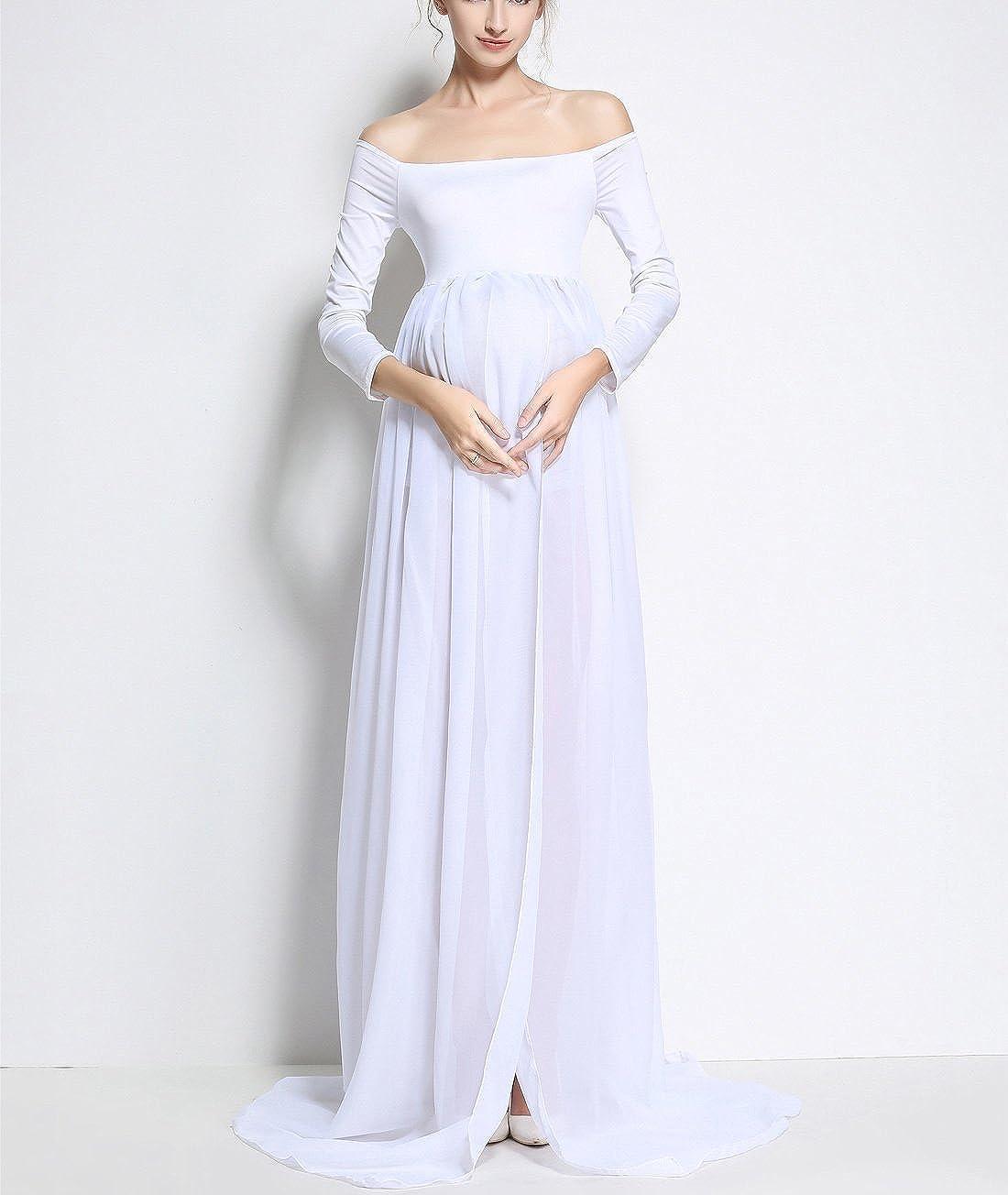 FEOYA Vestido Largo de Maternidad Dividido con Manga Larga Cuello Barco Fotografía Algodón Elegante XL-2XL: Amazon.es: Ropa y accesorios