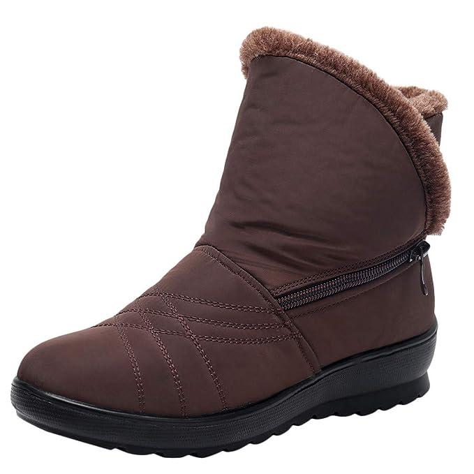 SamMoSon Botas Mujer Nieve Polar Forradas Goretex Y Agua,Señoras De La Mujer De Invierno A Prueba De Agua Short Snow Boots Calzado Calzado Calzado: ...