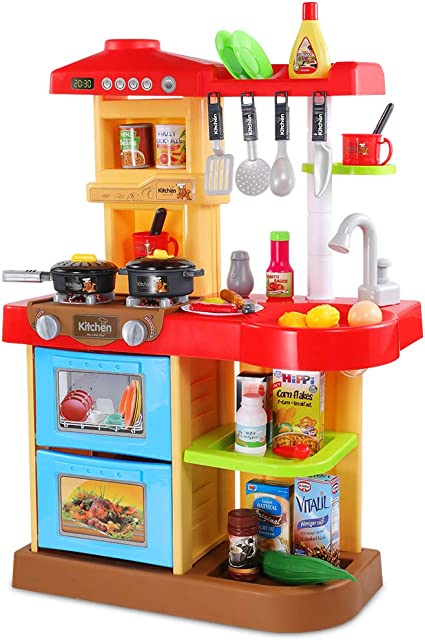 Amazon Com Temi Kids Kitchen Playset Pretend Food 34 Pcs Kitchen Toys For Toddlers Toy Accessories Set W Real Sounds And Light For Kids Girls Boys Red Toys Games