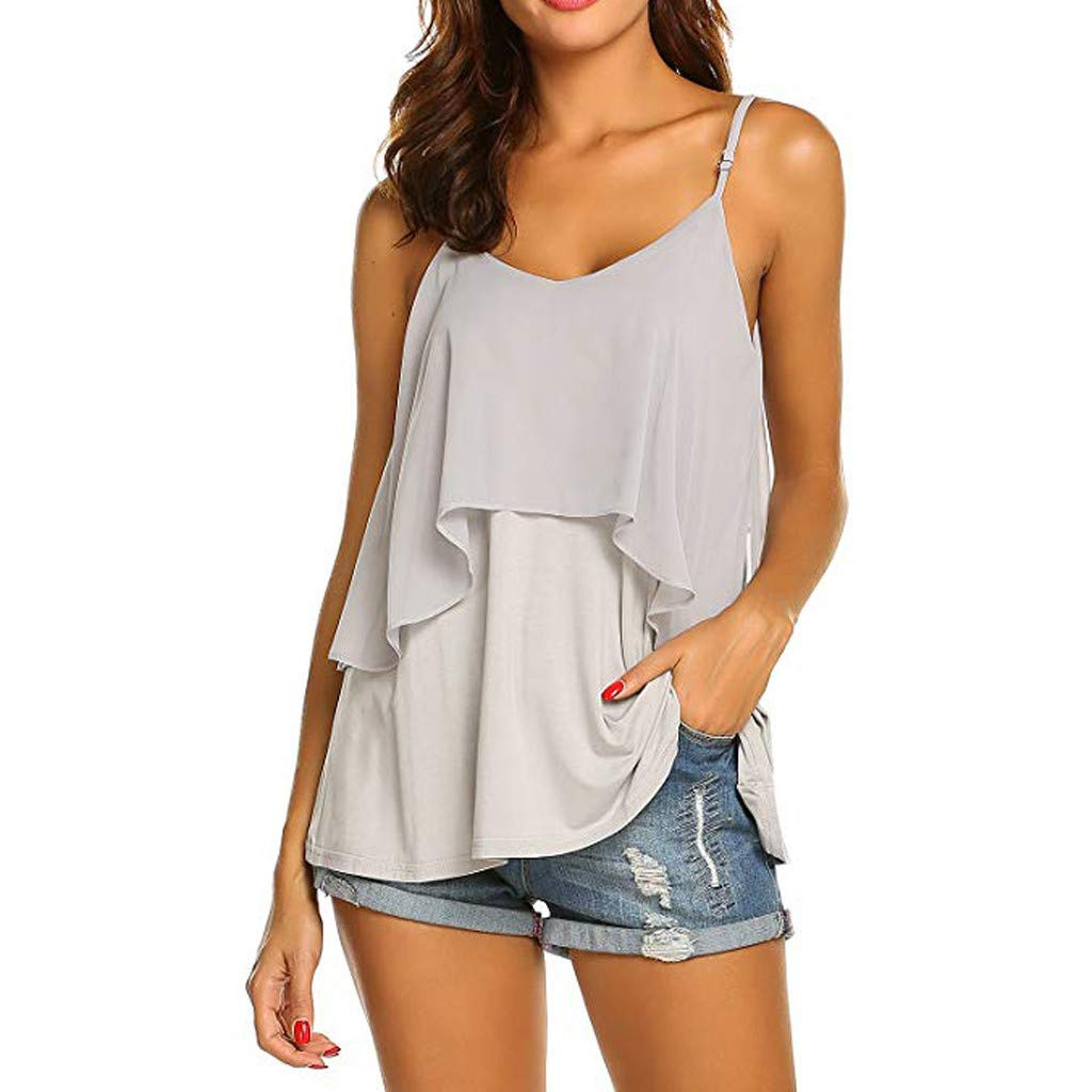 2019 Women Sexy V Neck Sleeveless Camis Summer Tank Tops Patchwork Casual Blouses (Gray, S) by Tanlo (Image #3)