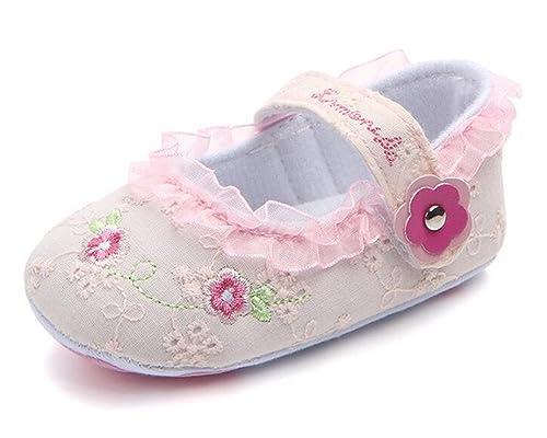 LFHT Baby Girl Moccasins Princess Non-Skid Soft Sole Flower Prewalker Toddler Shoes (6