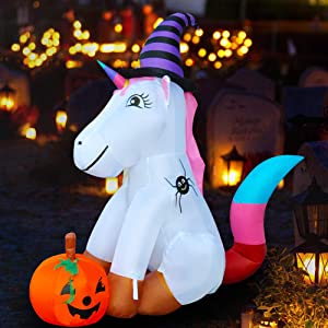 SEASONBLOW Inflatable Unicorn Decoration Airblown Decor for Home Yard Lawn Garden Home Party Indoor Outdoor