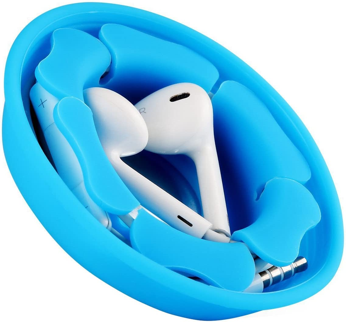 Earbud Holder Cord Wrapper Organizer, MAIRUI Tangle-Free Silicone Magnetic Earphone Winder Carrying Case (Blue)