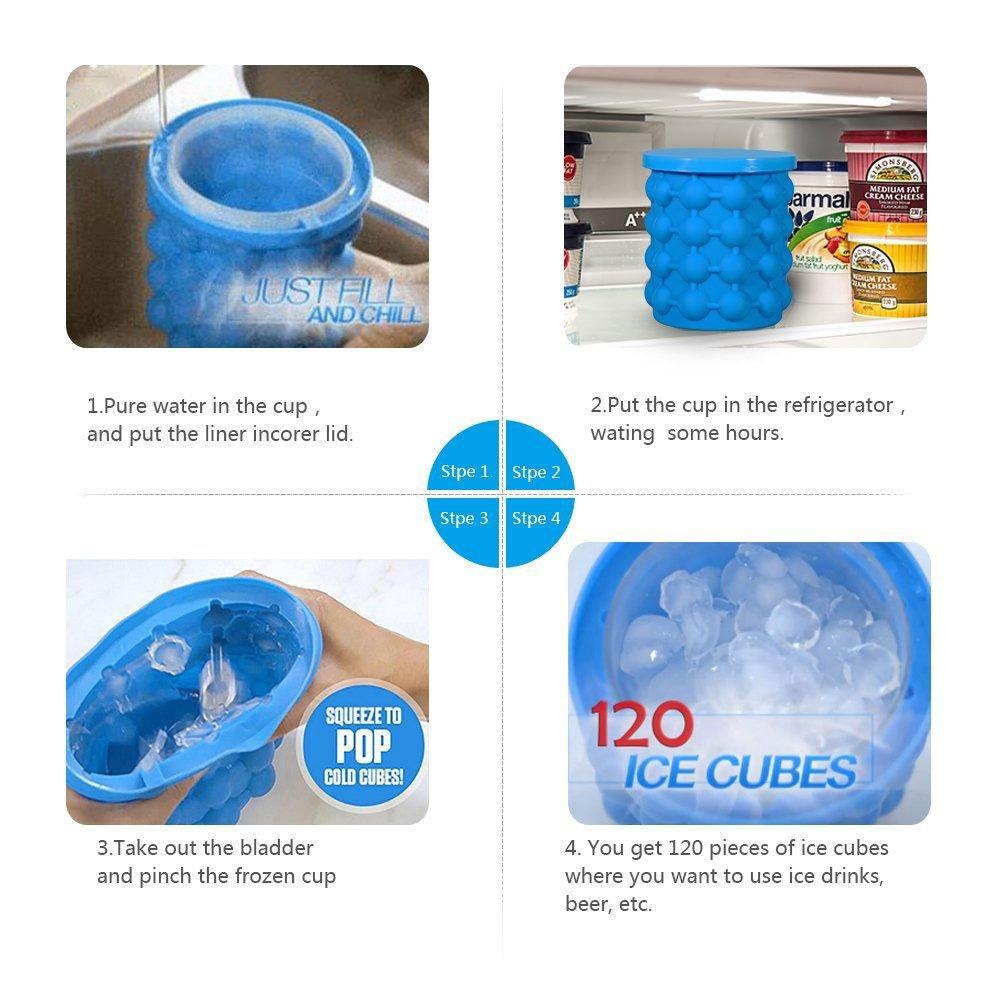 Compra Nuevo Ice Cube Maker Genie Silicone, Cubo de Hielo con Tapa El Revolucionario Cubo de Hielo Ahorro de Espacio Haga Party Drink Tub Silicone Banys ...